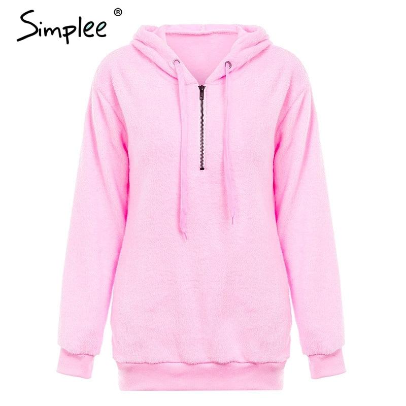 Hooded Fleece Pullover Sweatshirt, Women's Zipper Solid Long Sleeve Hoodies 12