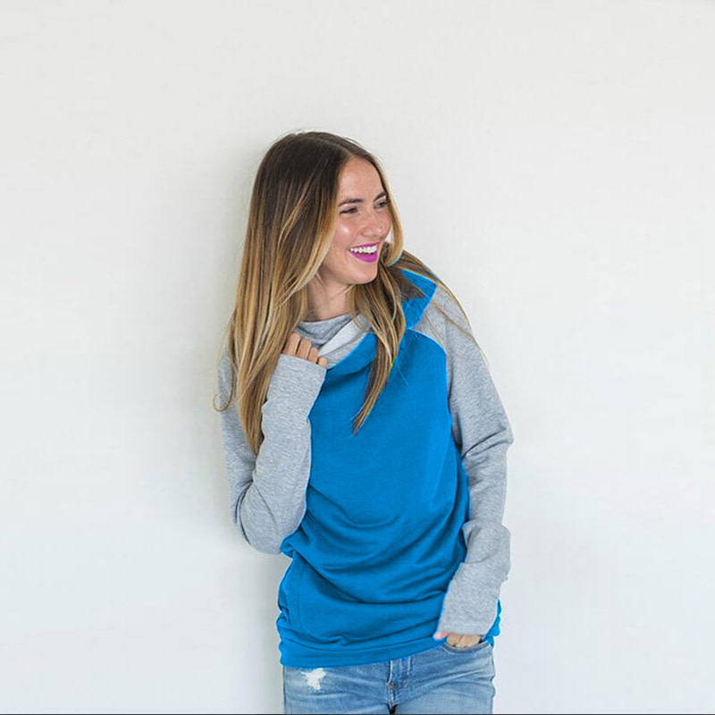 Women's Patchwork Striped Pullover Long Sleeve Hoodie, Tops With Pockets, Hooded Sweatshirt 32