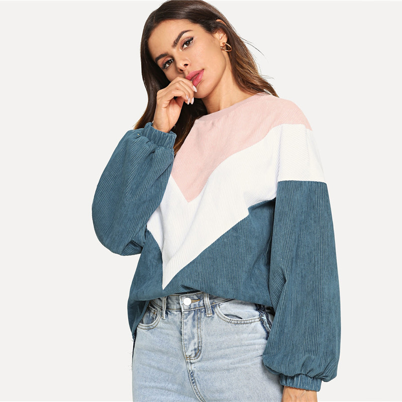 New Multi-color Cut and Sew Chevron Sweatshirt, Preppy Round Neck, Bishop Sleeve Pullover, Women's Sweatshirt 11