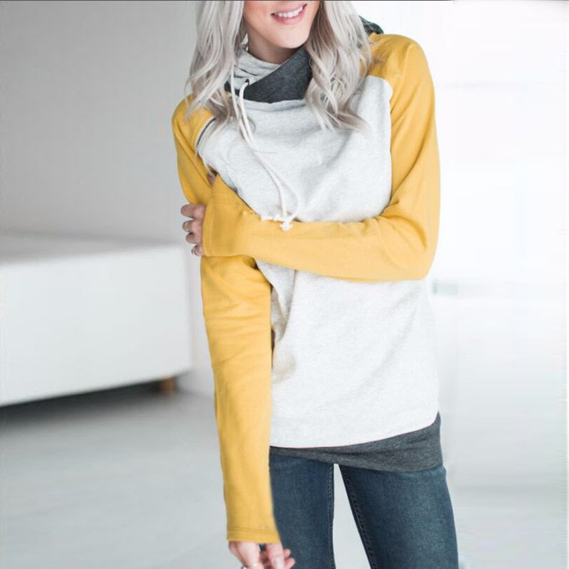 Women's Patchwork Striped Pullover Long Sleeve Hoodie, Tops With Pockets, Hooded Sweatshirt 63