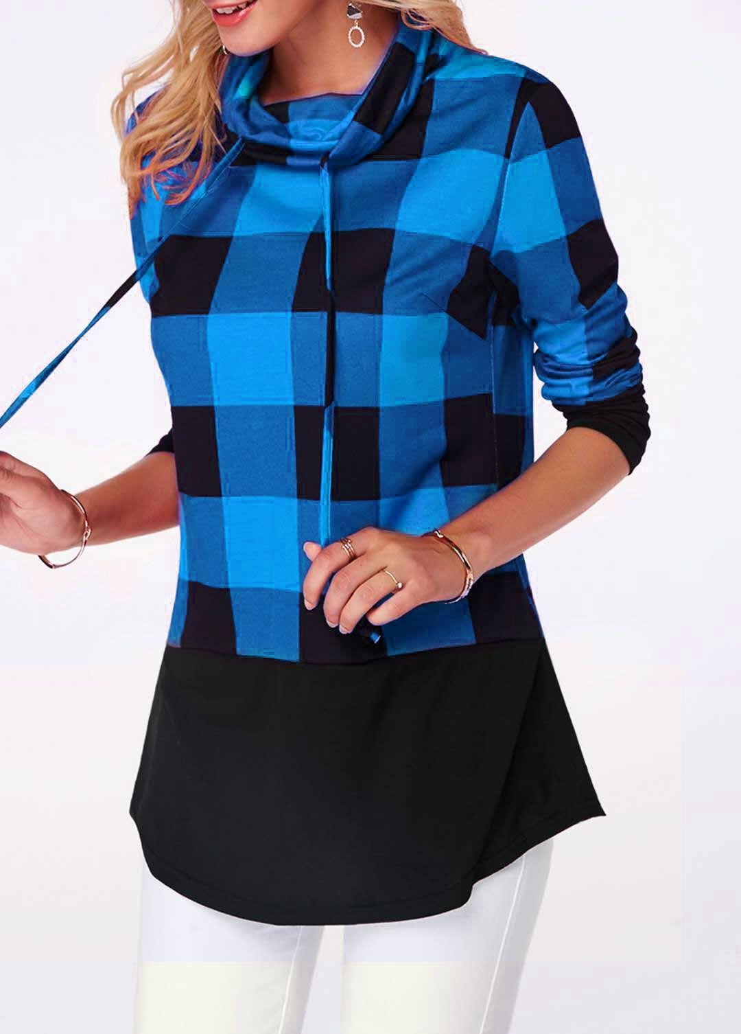 Women's Plaid Print Turtleneck Hoodie, Casual Long Sleeve Women's Plus Size Sweatshirt 10