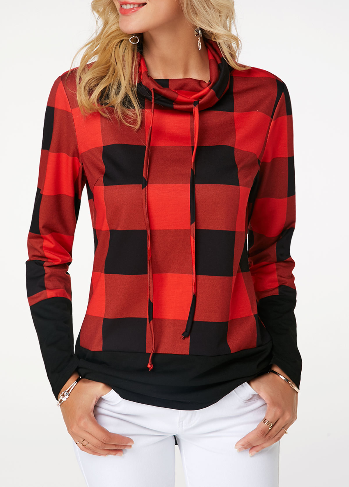 Women's Plaid Print Turtleneck Hoodie, Casual Long Sleeve Women's Plus Size Sweatshirt 5