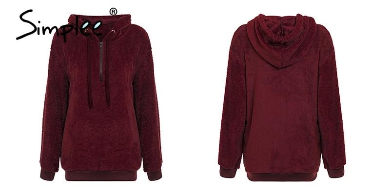 Hooded Fleece Pullover Sweatshirt, Women's Zipper Solid Long Sleeve Hoodies 18