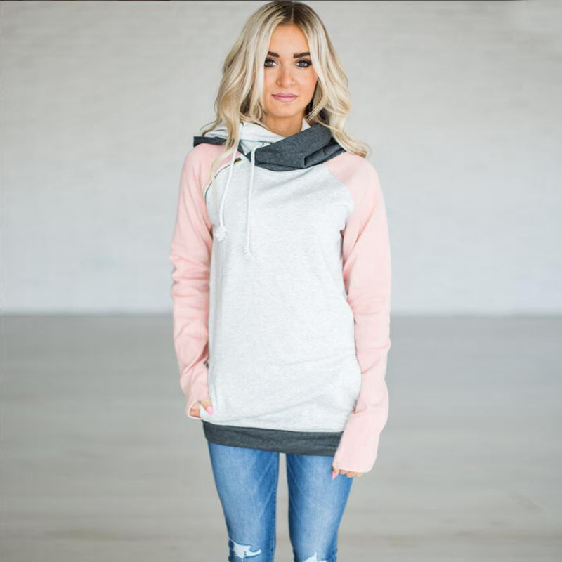 Women's Patchwork Striped Pullover Long Sleeve Hoodie, Tops With Pockets, Hooded Sweatshirt 70