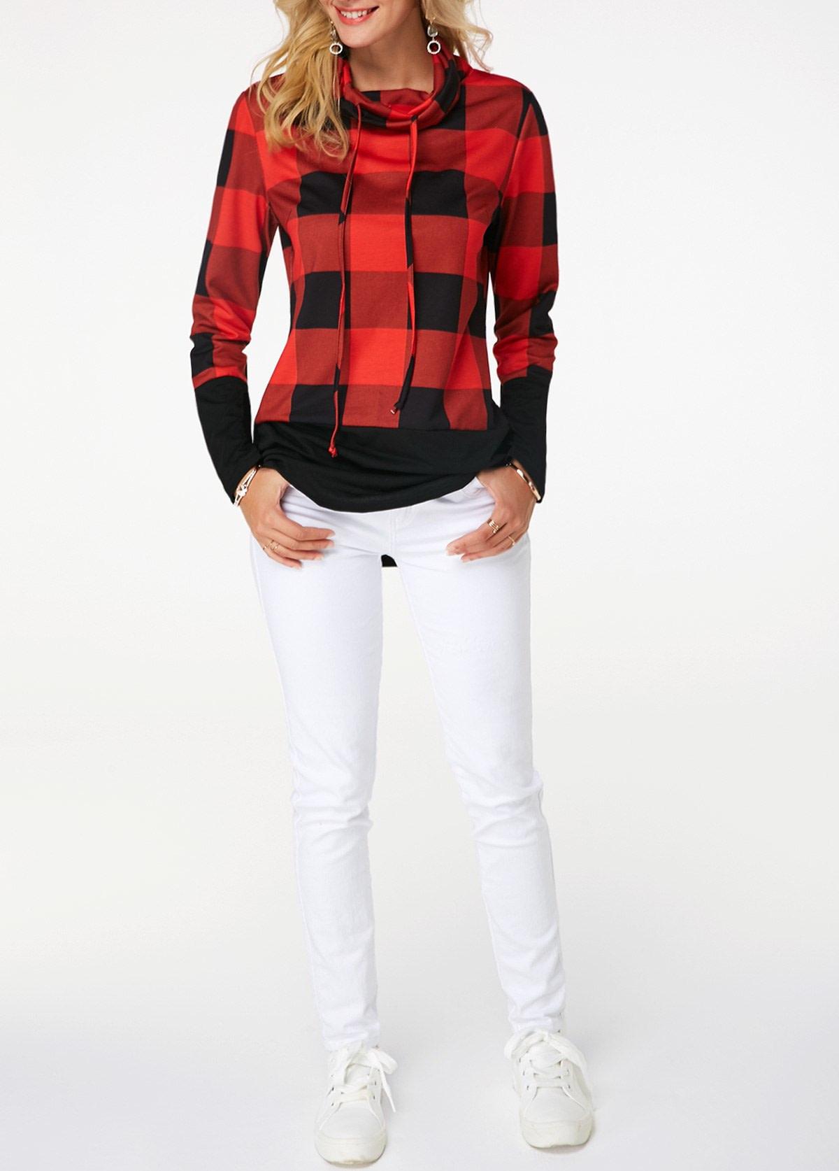 Women's Plaid Print Turtleneck Hoodie, Casual Long Sleeve Women's Plus Size Sweatshirt 8