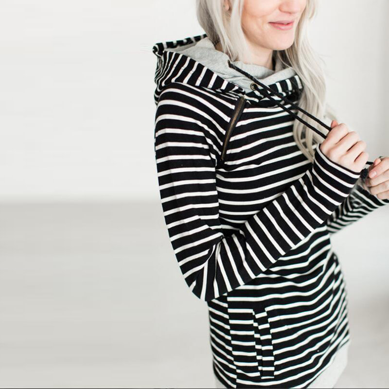 Women's Patchwork Striped Pullover Long Sleeve Hoodie, Tops With Pockets, Hooded Sweatshirt 44