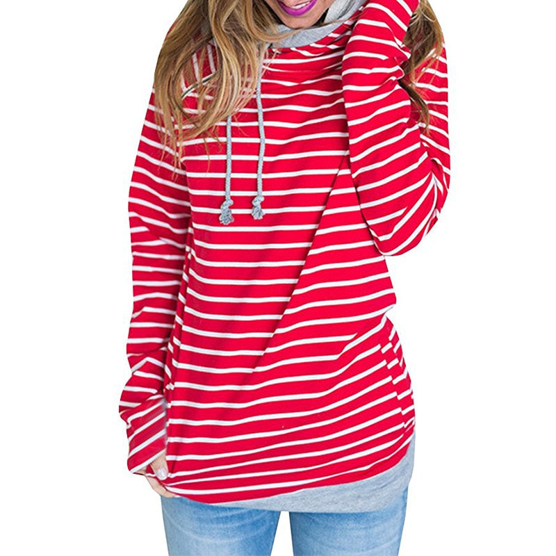 Women's Patchwork Striped Pullover Long Sleeve Hoodie, Tops With Pockets, Hooded Sweatshirt 48