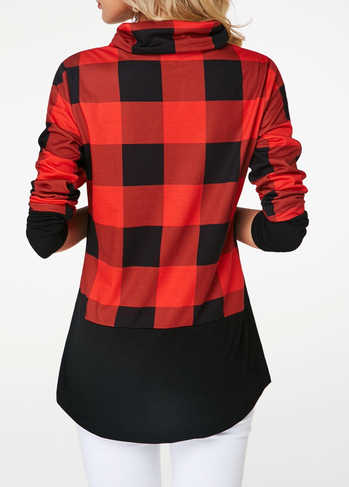 Women's Plaid Print Turtleneck Hoodie, Casual Long Sleeve Women's Plus Size Sweatshirt 7