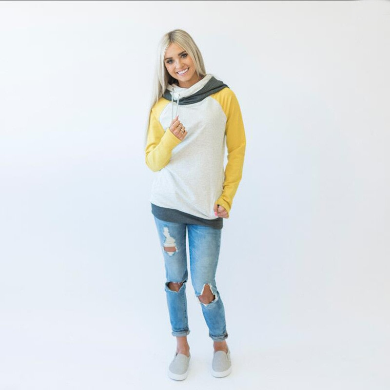 Women's Patchwork Striped Pullover Long Sleeve Hoodie, Tops With Pockets, Hooded Sweatshirt 65