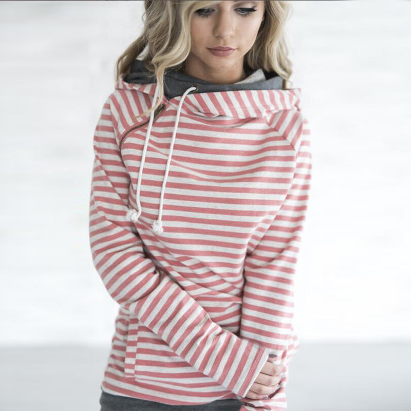 Women's Patchwork Striped Pullover Long Sleeve Hoodie, Tops With Pockets, Hooded Sweatshirt 16