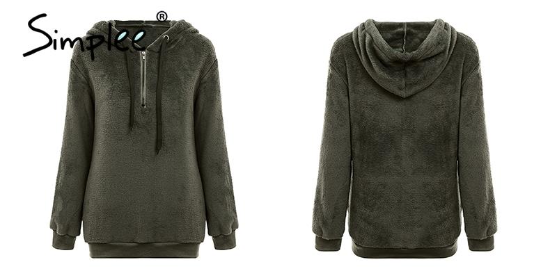 Hooded Fleece Pullover Sweatshirt, Women's Zipper Solid Long Sleeve Hoodies 19