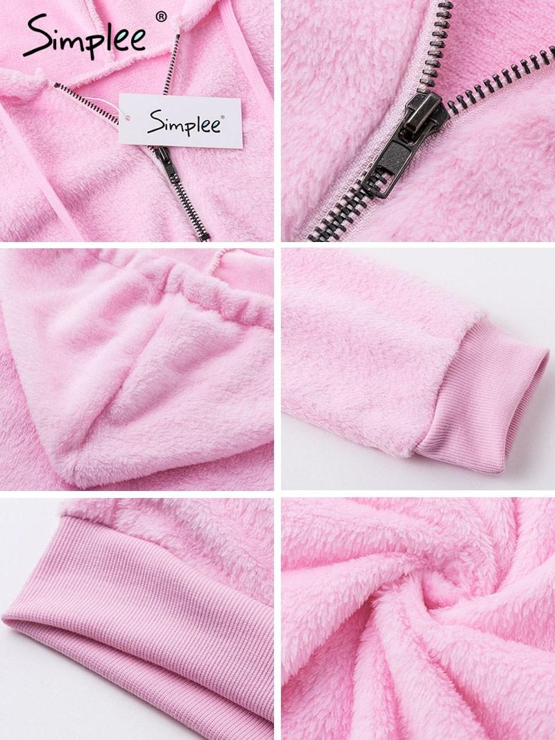 Hooded Fleece Pullover Sweatshirt, Women's Zipper Solid Long Sleeve Hoodies 14