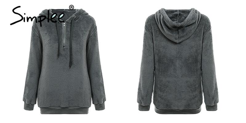 Hooded Fleece Pullover Sweatshirt, Women's Zipper Solid Long Sleeve Hoodies 16