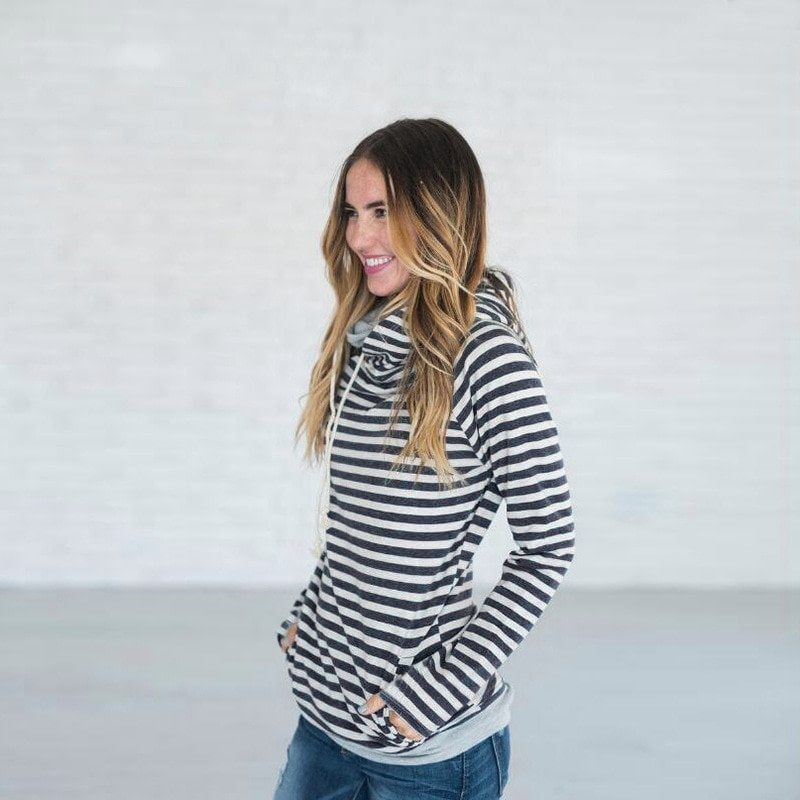 Women's Patchwork Striped Pullover Long Sleeve Hoodie, Tops With Pockets, Hooded Sweatshirt 19