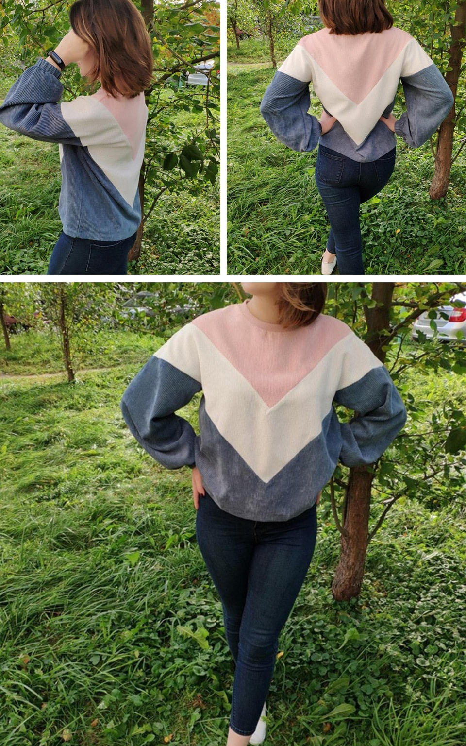 New Multi-color Cut and Sew Chevron Sweatshirt, Preppy Round Neck, Bishop Sleeve Pullover, Women's Sweatshirt 5