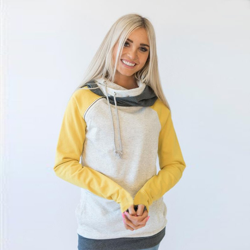 Women's Patchwork Striped Pullover Long Sleeve Hoodie, Tops With Pockets, Hooded Sweatshirt 66