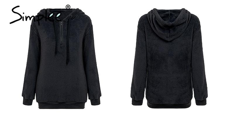 Hooded Fleece Pullover Sweatshirt, Women's Zipper Solid Long Sleeve Hoodies 15