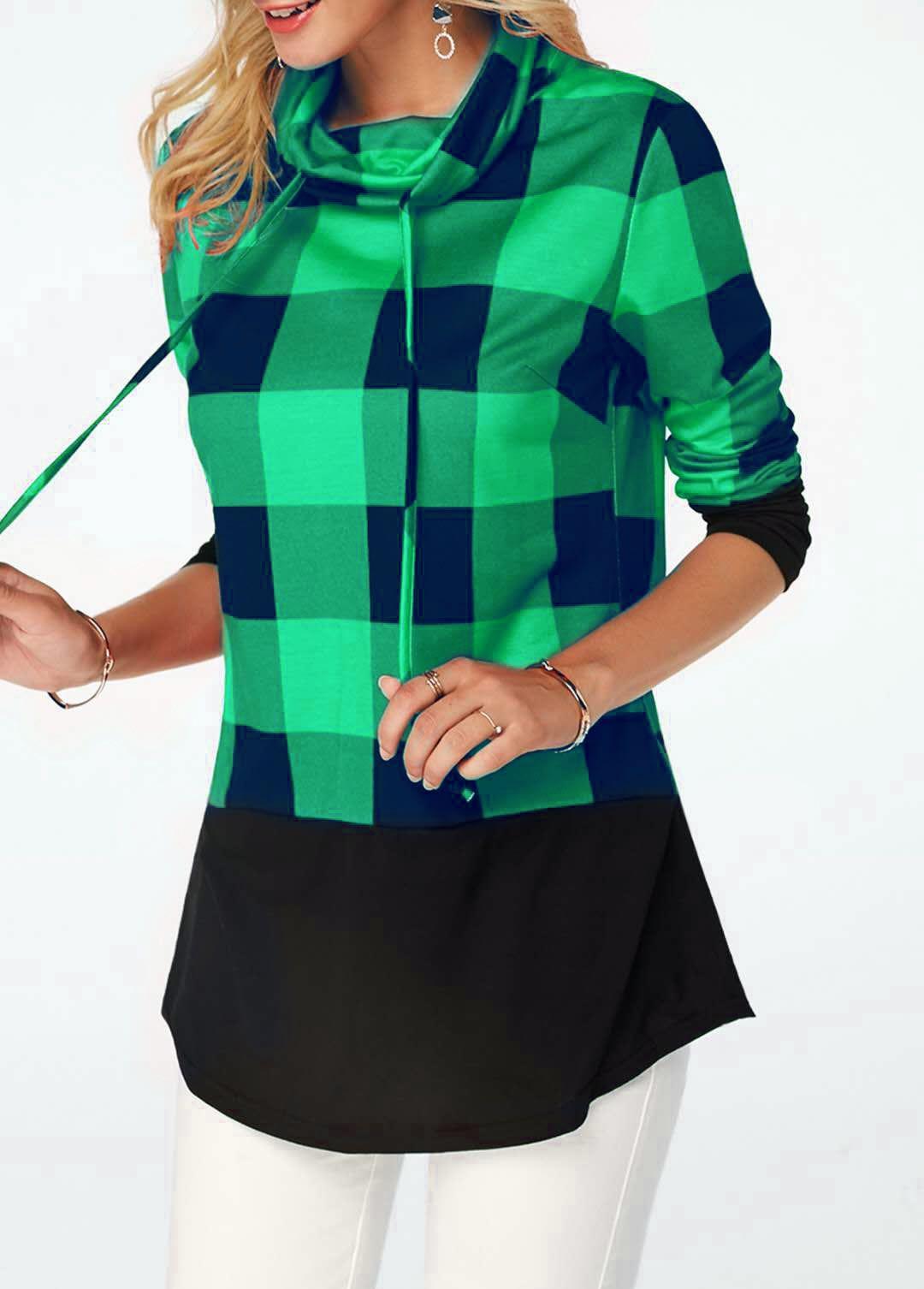 Women's Plaid Print Turtleneck Hoodie, Casual Long Sleeve Women's Plus Size Sweatshirt 15