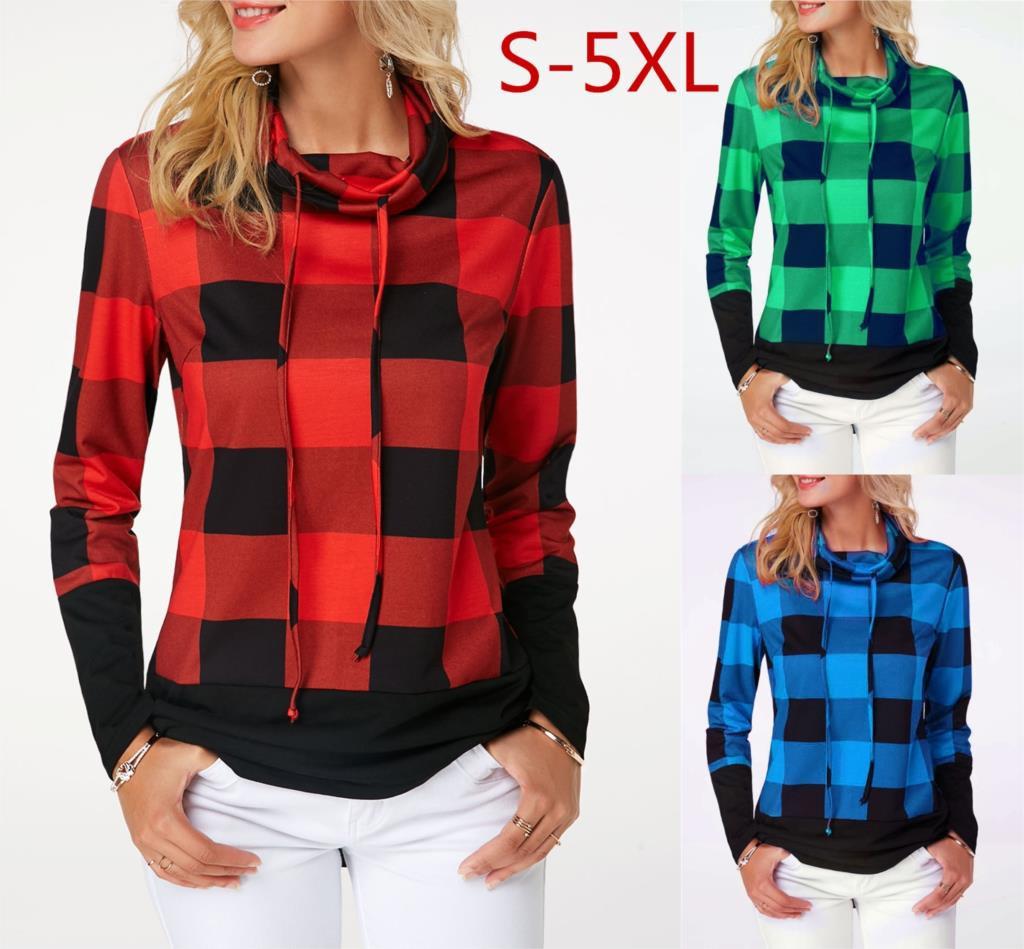 Women's Plaid Print Turtleneck Hoodie, Casual Long Sleeve Women's Plus Size Sweatshirt 4