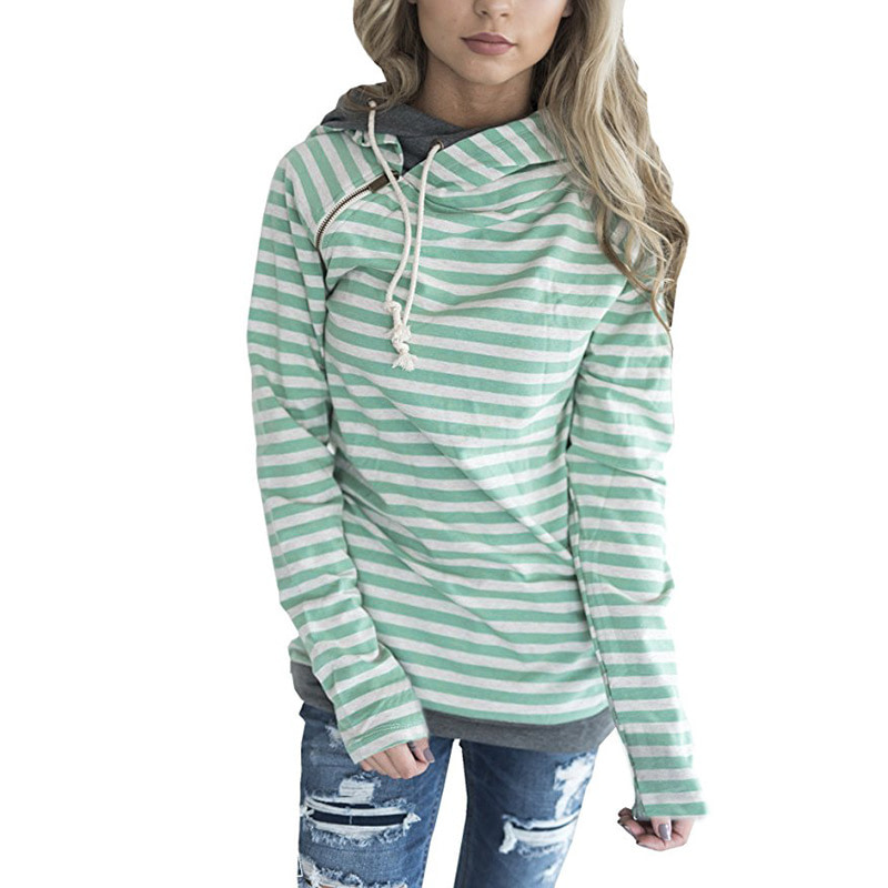 Women's Patchwork Striped Pullover Long Sleeve Hoodie, Tops With Pockets, Hooded Sweatshirt 13