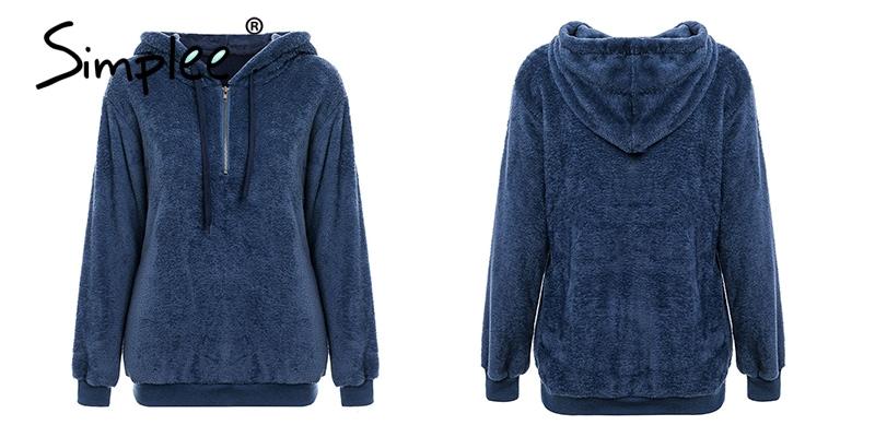 Hooded Fleece Pullover Sweatshirt, Women's Zipper Solid Long Sleeve Hoodies 21