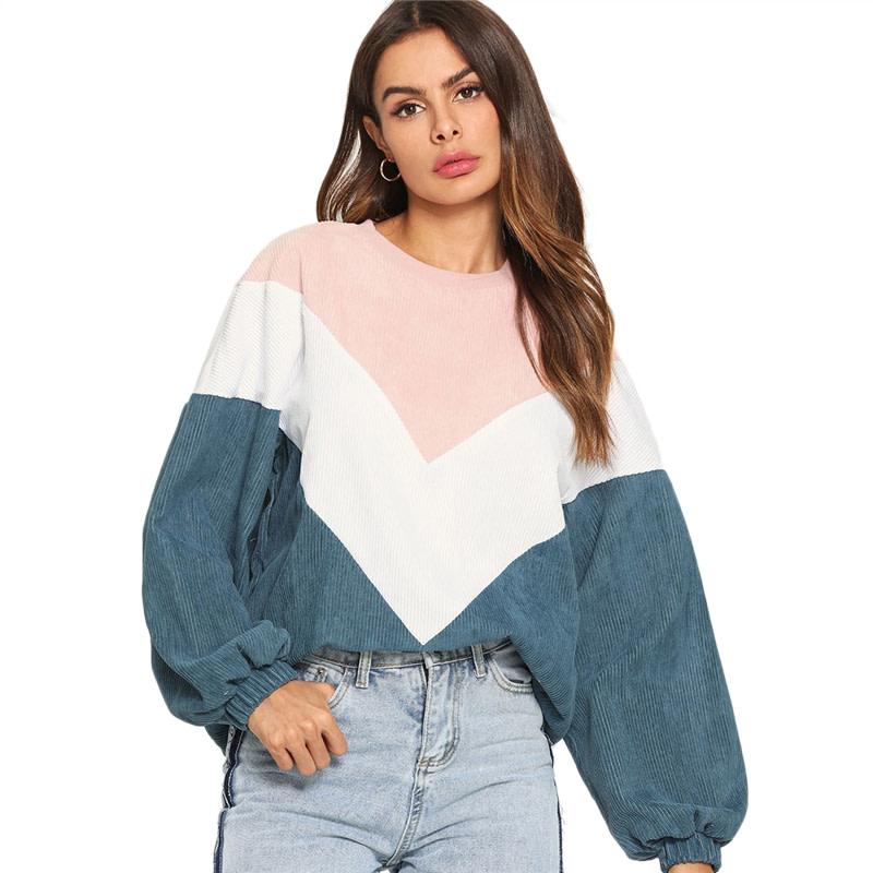 New Multi-color Cut and Sew Chevron Sweatshirt, Preppy Round Neck, Bishop Sleeve Pullover, Women's Sweatshirt 12