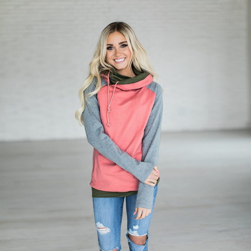 Women's Patchwork Striped Pullover Long Sleeve Hoodie, Tops With Pockets, Hooded Sweatshirt 26