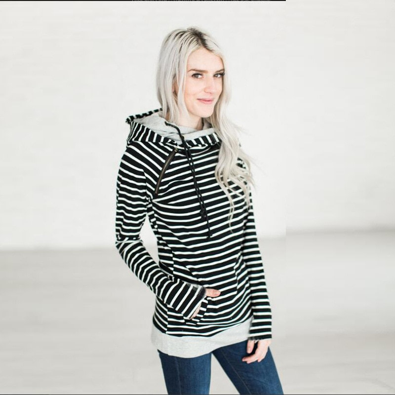 Women's Patchwork Striped Pullover Long Sleeve Hoodie, Tops With Pockets, Hooded Sweatshirt 47
