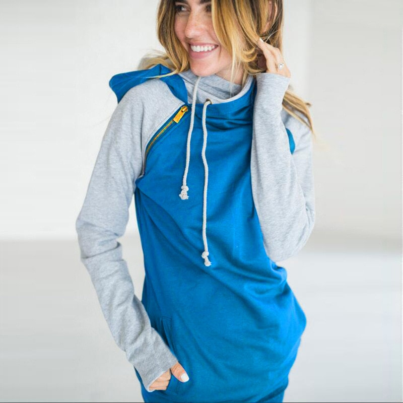 Women's Patchwork Striped Pullover Long Sleeve Hoodie, Tops With Pockets, Hooded Sweatshirt 31