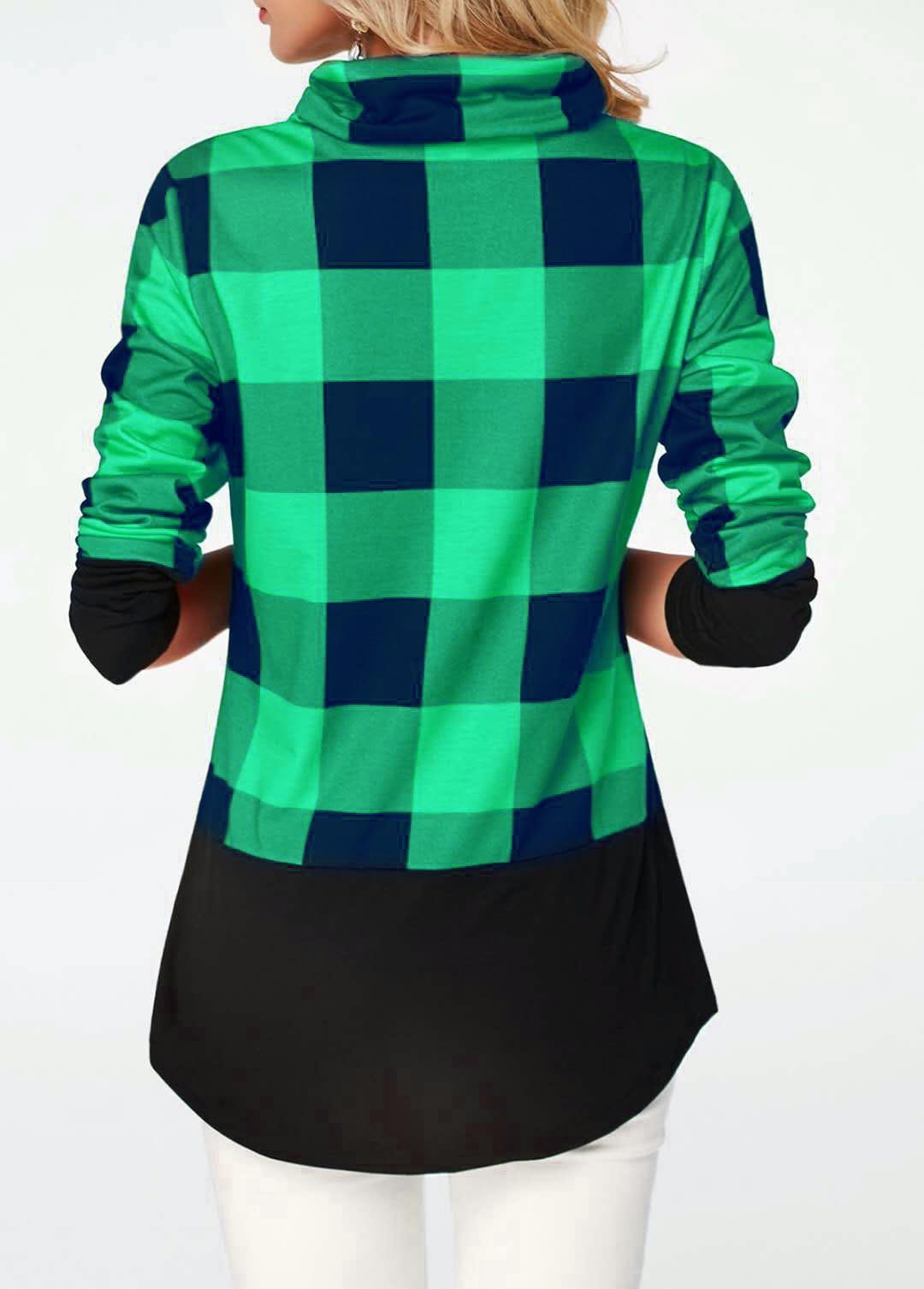 Women's Plaid Print Turtleneck Hoodie, Casual Long Sleeve Women's Plus Size Sweatshirt 14