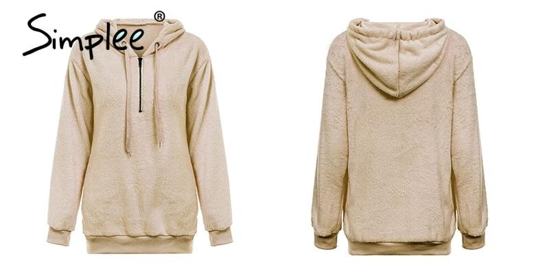 Hooded Fleece Pullover Sweatshirt, Women's Zipper Solid Long Sleeve Hoodies 20
