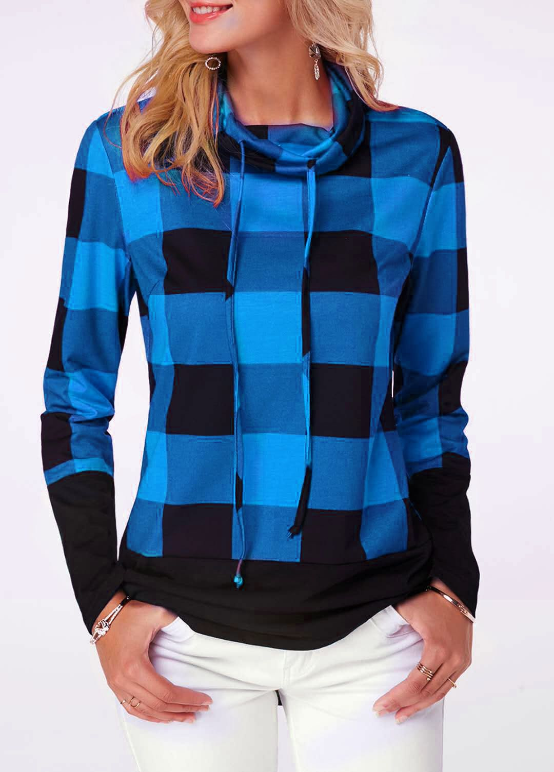 Women's Plaid Print Turtleneck Hoodie, Casual Long Sleeve Women's Plus Size Sweatshirt 9