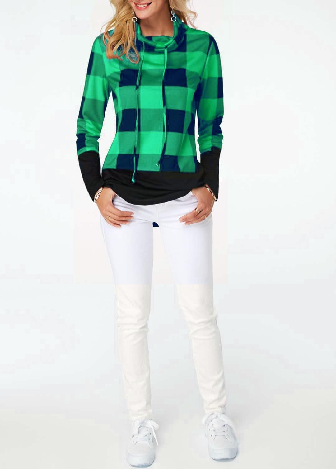Women's Plaid Print Turtleneck Hoodie, Casual Long Sleeve Women's Plus Size Sweatshirt 16