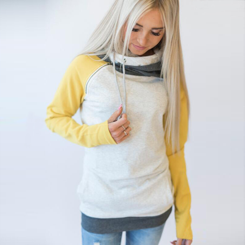 Women's Patchwork Striped Pullover Long Sleeve Hoodie, Tops With Pockets, Hooded Sweatshirt 62