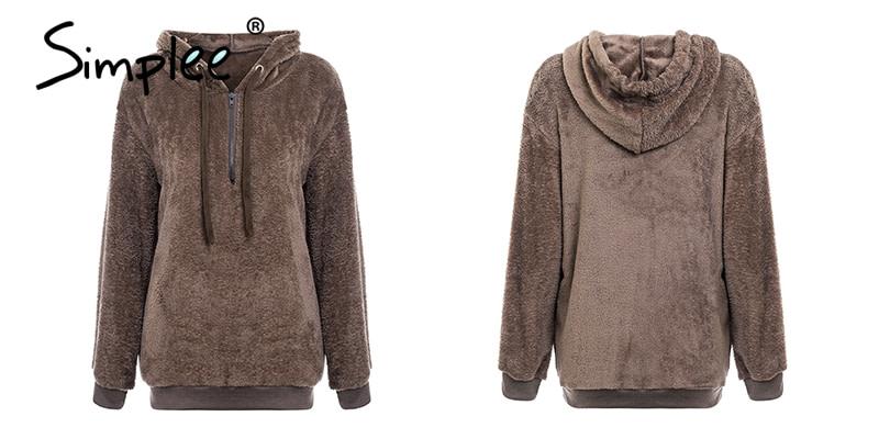 Hooded Fleece Pullover Sweatshirt, Women's Zipper Solid Long Sleeve Hoodies 22