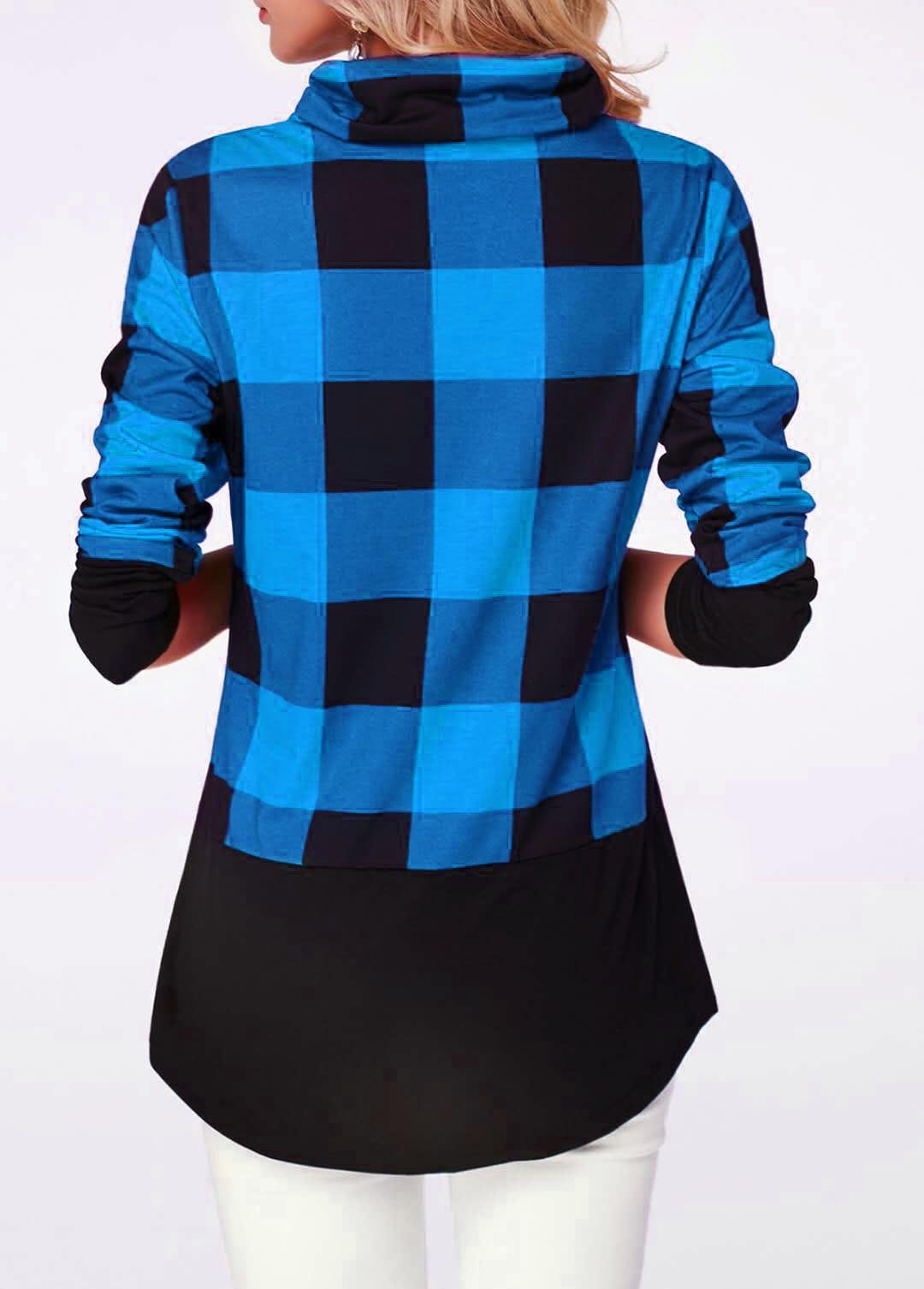 Women's Plaid Print Turtleneck Hoodie, Casual Long Sleeve Women's Plus Size Sweatshirt 11
