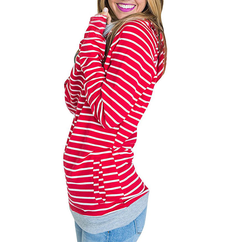 Women's Patchwork Striped Pullover Long Sleeve Hoodie, Tops With Pockets, Hooded Sweatshirt 49