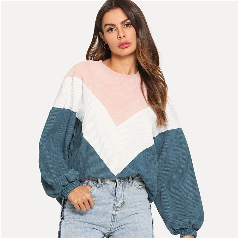 New Multi-color Cut and Sew Chevron Sweatshirt, Preppy Round Neck, Bishop Sleeve Pullover, Women's Sweatshirt 8