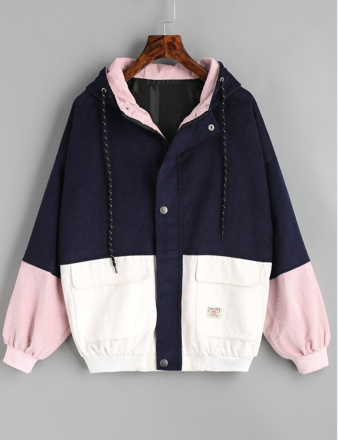 Winter Warm Color Block Hooded Corduroy Jacket Drawstring Hit Color Patched Pocket Thick Basic Women Coat 4