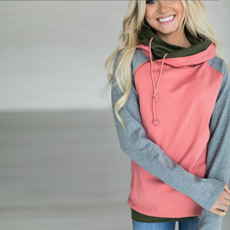 Women's Patchwork Striped Pullover Long Sleeve Hoodie, Tops With Pockets, Hooded Sweatshirt 25