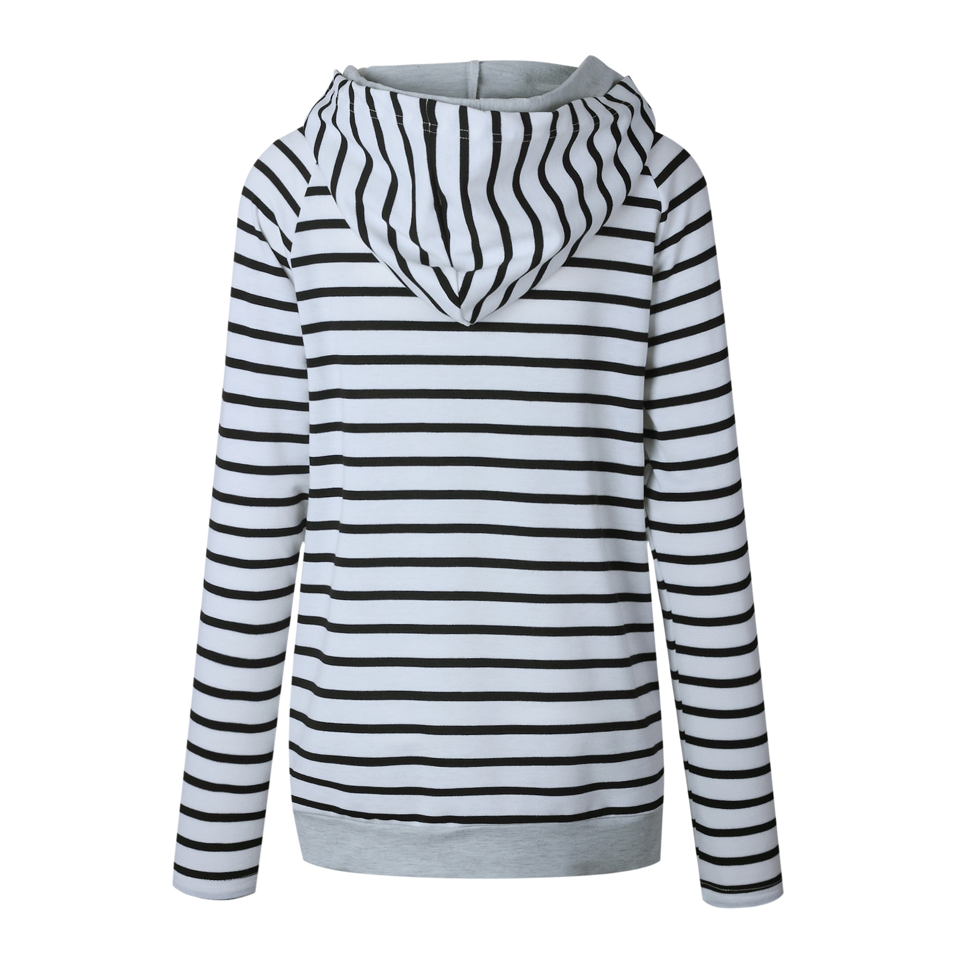 Women's Patchwork Striped Pullover Long Sleeve Hoodie, Tops With Pockets, Hooded Sweatshirt 34