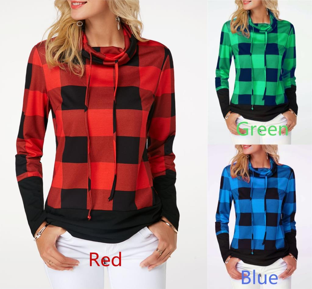 Women's Plaid Print Turtleneck Hoodie, Casual Long Sleeve Women's Plus Size Sweatshirt 2