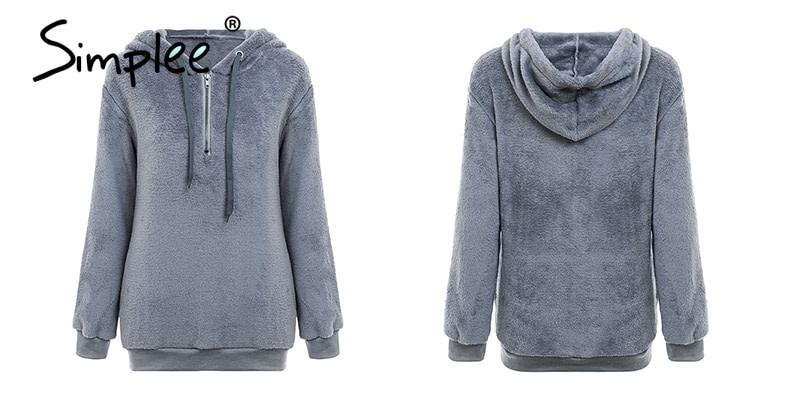 Hooded Fleece Pullover Sweatshirt, Women's Zipper Solid Long Sleeve Hoodies 17