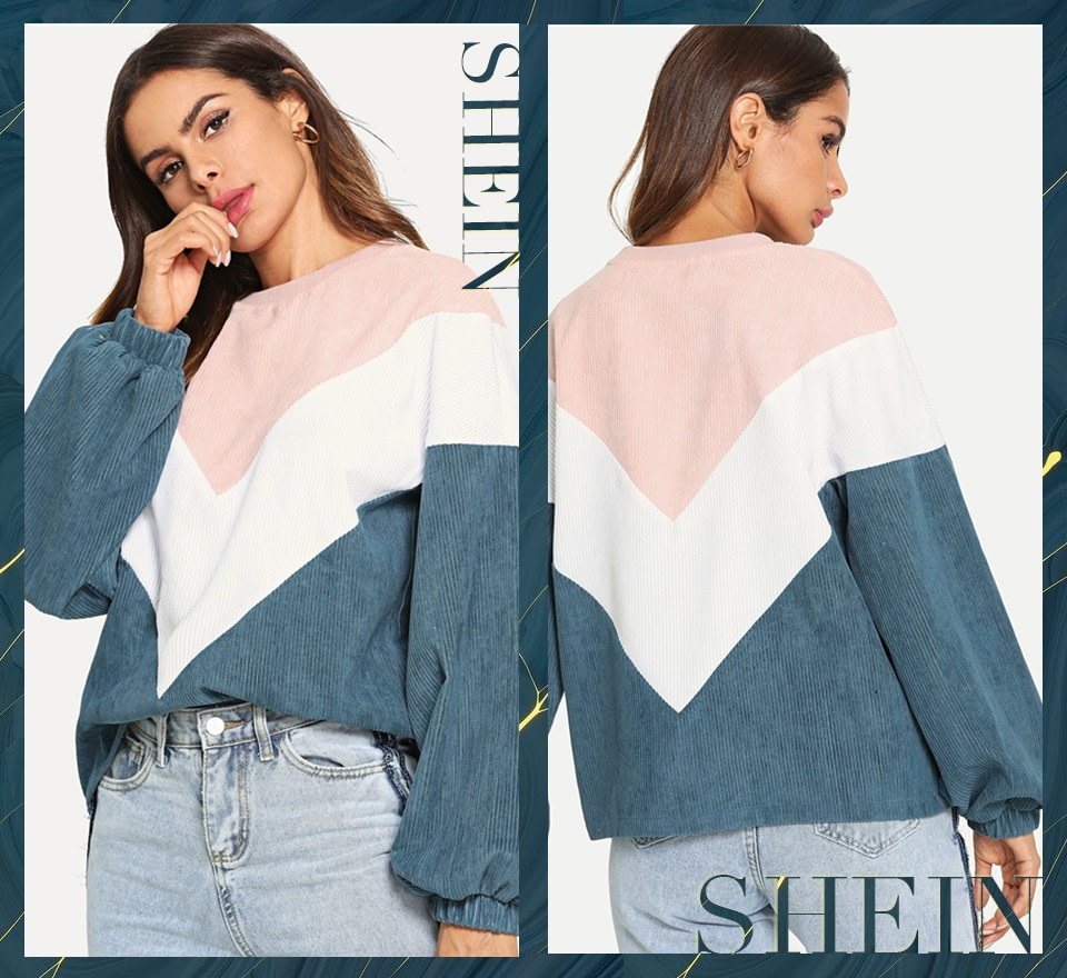 New Multi-color Cut and Sew Chevron Sweatshirt, Preppy Round Neck, Bishop Sleeve Pullover, Women's Sweatshirt 7