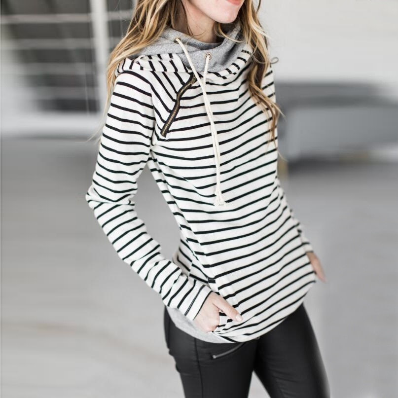 Women's Patchwork Striped Pullover Long Sleeve Hoodie, Tops With Pockets, Hooded Sweatshirt 43