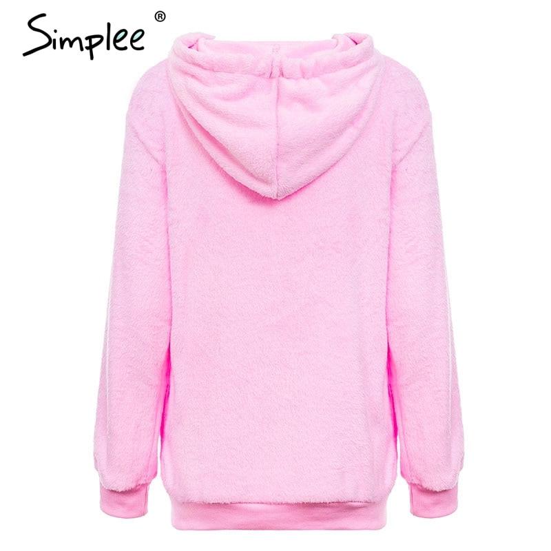 Hooded Fleece Pullover Sweatshirt, Women's Zipper Solid Long Sleeve Hoodies 13