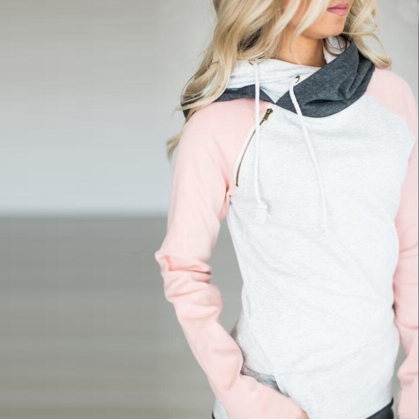 Women's Patchwork Striped Pullover Long Sleeve Hoodie, Tops With Pockets, Hooded Sweatshirt 67