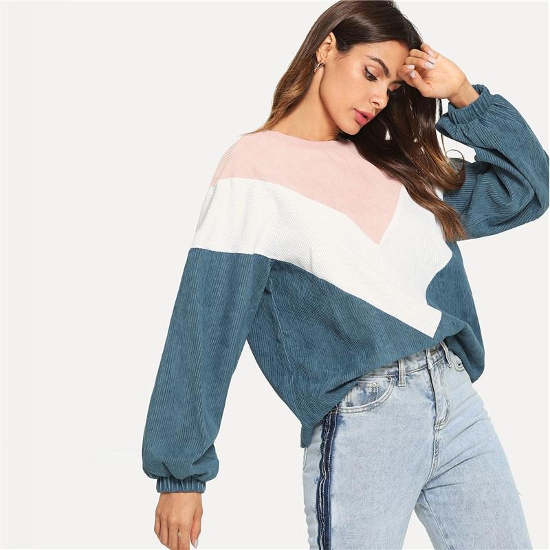 New Multi-color Cut and Sew Chevron Sweatshirt, Preppy Round Neck, Bishop Sleeve Pullover, Women's Sweatshirt 10