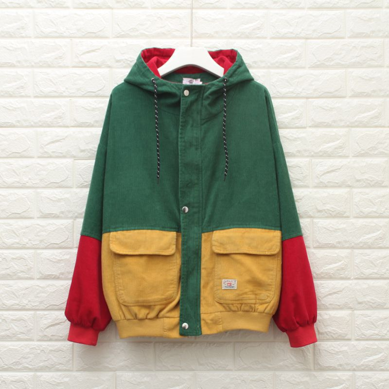 Winter Warm Color Block Hooded Corduroy Jacket Drawstring Hit Color Patched Pocket Thick Basic Women Coat 1