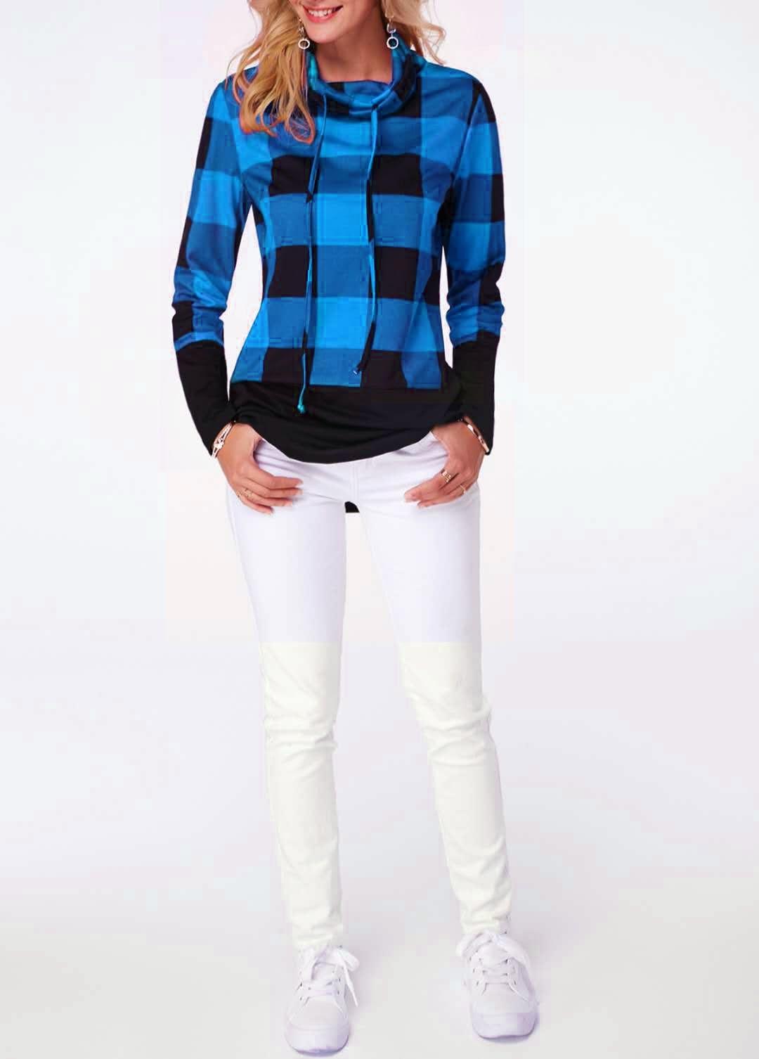 Women's Plaid Print Turtleneck Hoodie, Casual Long Sleeve Women's Plus Size Sweatshirt 12